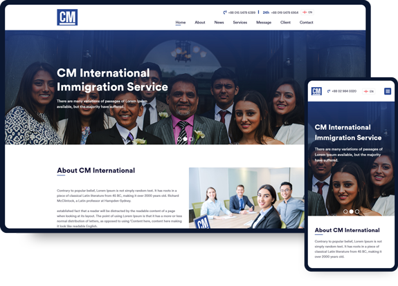 CM International Web Design layout
