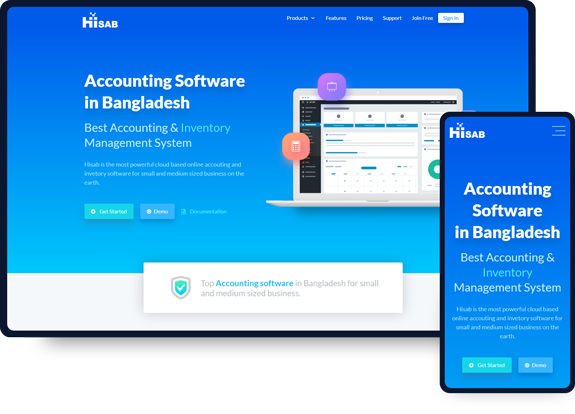 Hisab Online software website design work mockup
