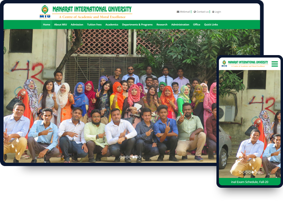 Manarat international University website design work.